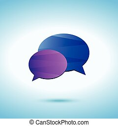 Conversation colored icon on the blue background