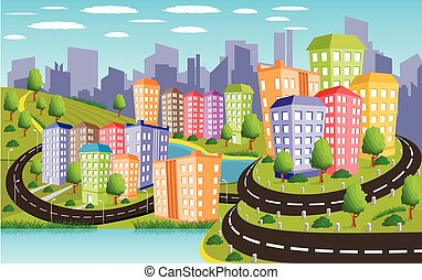 Colorful city - Cartoon illustration of a road to a city