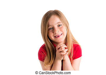 blond indented girl praying hands gesture in white - blond...