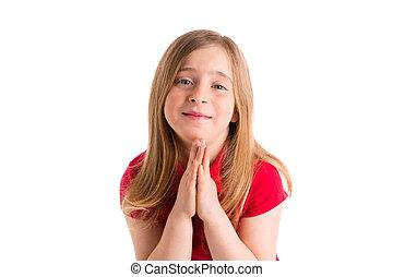 blond kid girl praying hands gesture in white background
