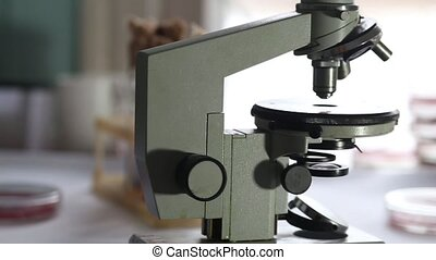 Microscope in a medical laboratory - Close up shot of...