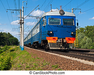 Suburban Train - Suburban, public, electric, passenger train...