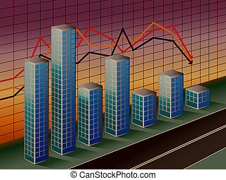 Business Bar Graph - Vector illustration of global travel by...