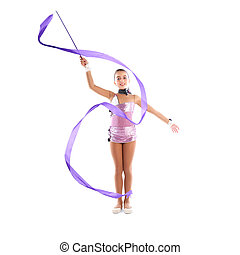 Kid girl ribbon rhythmic gymnastics exercise on white...