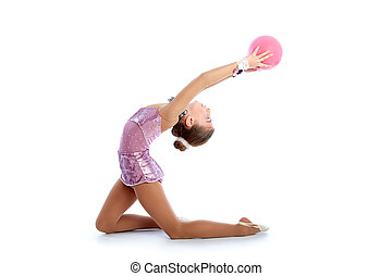 Kid girl ball rhythmic gymnastics exercise on white...