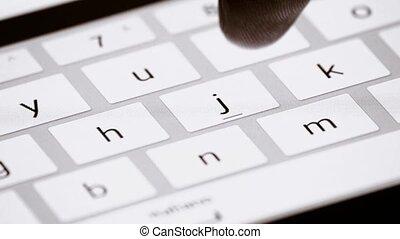 Finger touch virtual keys of tablet - Finger touching...
