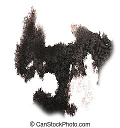 abstract hand black drawn watercolor blot insult Rorschach...