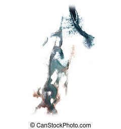 abstract hand gray drawn watercolor blot insult Rorschach...