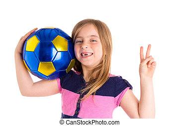 Football soccer kid girl happy player with ball - Football...