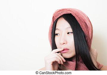 joven, asiático, mujer, cierre, Arriba, Posar, Mirar,...