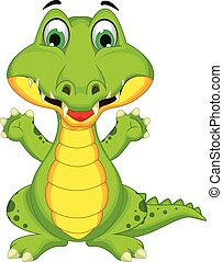 Cartoon crocodile posing - vector illustration of Cartoon...