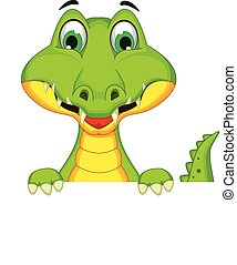 crocodile holding blank sign - vector illustration of...