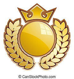Gold shield - Gold sphere shield - whit crown and laurels.