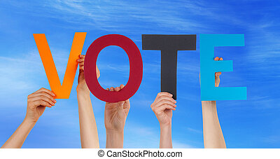 Many People Hands Holding Colorful Straight Word Vote Blue Sky