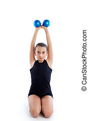 Fitness weighted Pilates balls kid girl exercise