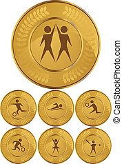 sport coin set isolated on a white background.