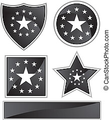 Black Icons Stars isolated on a white background.