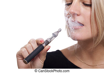 Close up Blond Woman Smoking Using E- Cigarette - Close up...