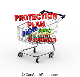 3d shopping cart trolley protection - 3d illustration of...