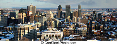 Panorama of downtown Montreal during winter from the mont...