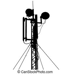 Silhouette mast antenna mobile communications. Vector...