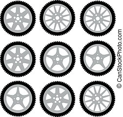 automotive wheel with alloy wheels. Vector illustration
