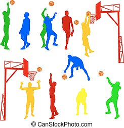 Silhouettes of men playing basketball on a white background. Vec