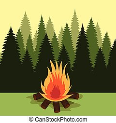 Camping design - Camping design over landscape background,...