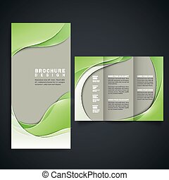 abstract tri-fold brochure design with elegant green...