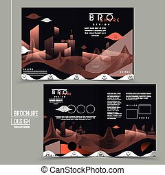 futuristic brochure with abstract city scenery in orange and...