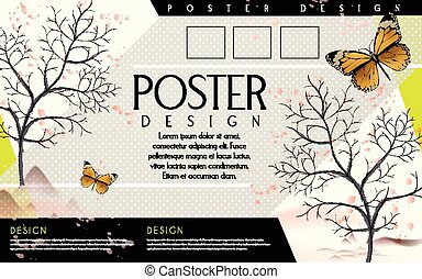 poetic poster template design with butterflies elements