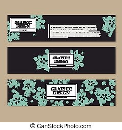 graceful banner template design with delicate blue floral...