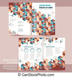 modern half-fold brochure template design with colorful...