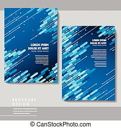 high-tech brochure template design with blue geometric...