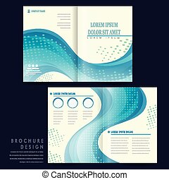 elegant half-fold brochure template design with blue...