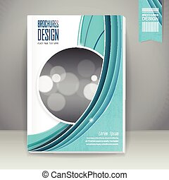 elegant book cover template design with blue streamline wave