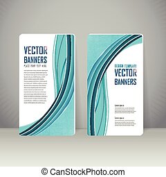 elegant banner template design with blue streamline wave