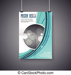 elegant poster template design with blue streamline wave