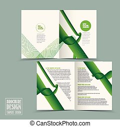 simplicity half-fold brochure template design with green...
