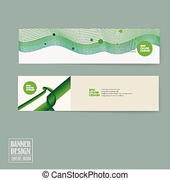 simplicity banner template design with green streamline...