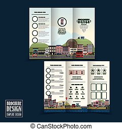 adorable town scenery tri-fold brochure template in flat...