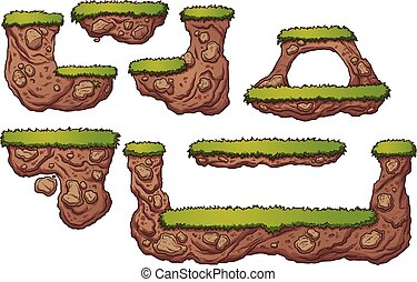 Grass and dirt platforms. Vector clip art illustration with...