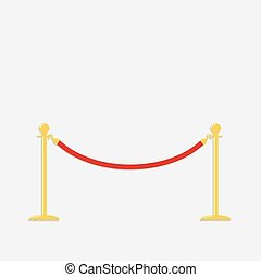 Red rope barrier golden stanchions turnstile Isolated...