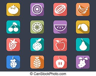 fruit flat icons set with long shadow