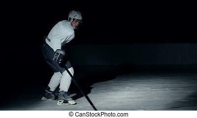 Loser - Side view of forward hockey player successfully...