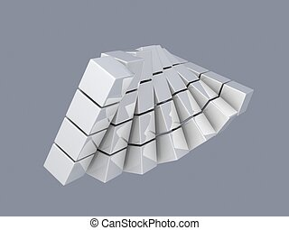 white cubes on gray background, digitally generated image