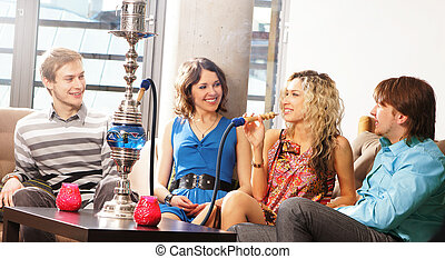 Group of young people smoking - SONY DSC aGroup of young and...