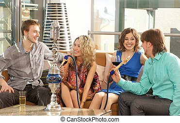 Group of young people smoking - Group of young and sexy...