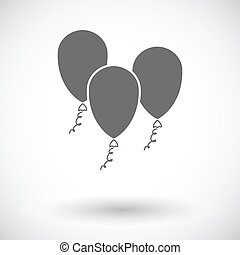Ballon. Single flat icon on white background. Vector...