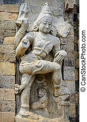 Hindu God Statue in Brihadeeswarar Temple